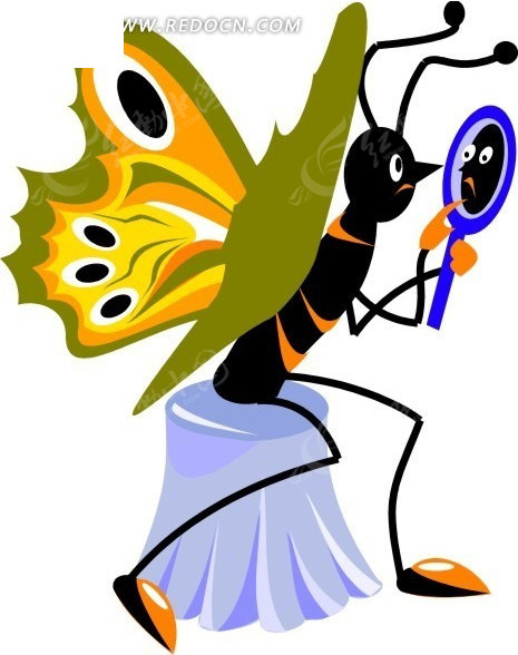 卡通画坐着照镜子的蝴蝶