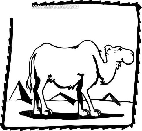 黑色线描骆驼矢量素材矢量图_空中动物