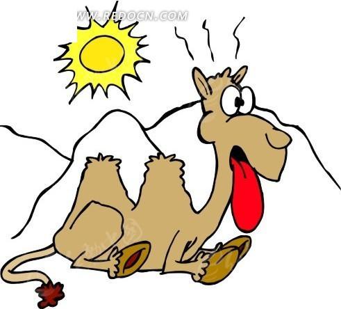 免费素材 矢量素材 生物世界 空中动物 手绘烈日下伸出舌头的骆驼