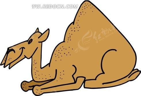 手绘一只跪着休息的骆驼矢量图