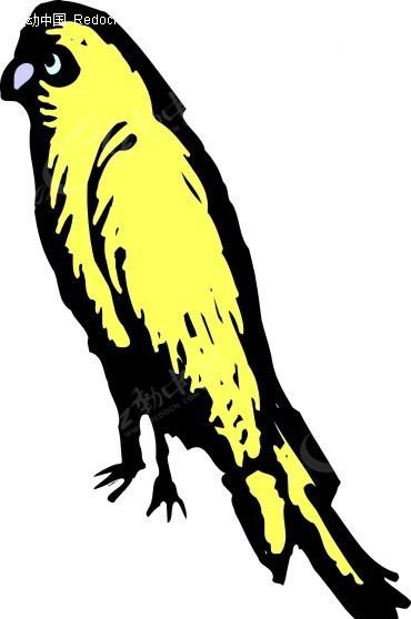 手绘黄色小鸟