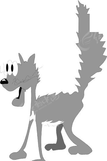 手绘受惊吓瞪眼竖起毛的灰色猫咪