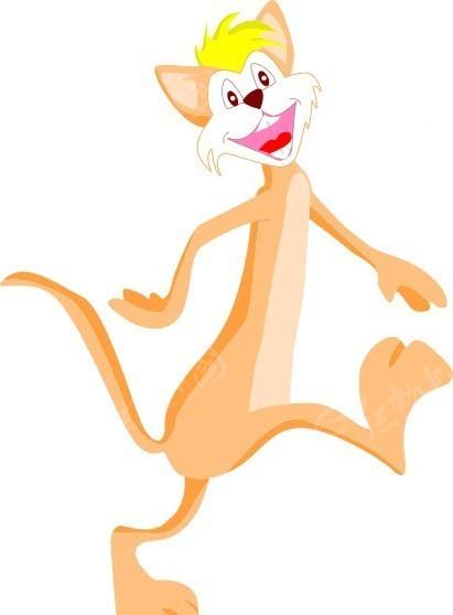 卡通画腿走路的猫矢量图