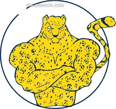 卡通画双手抱臂的强壮豹子
