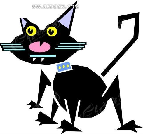 卡通画一只黑色猫咪矢量素材