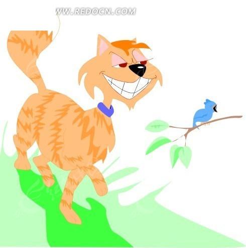 小鸟 小猫 猫 猫咪 卡通动物 卡通画 插画 手绘 矢量素材 动物图片