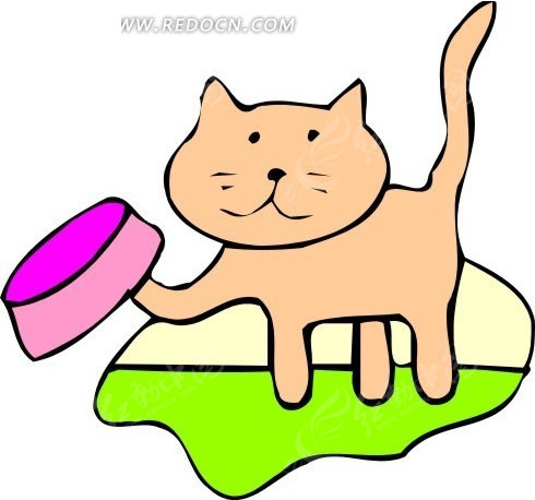 免费素材 矢量素材 生物世界 陆地动物 儿童画前爪挑起猫食盆的猫  请