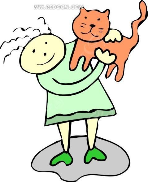 手绘被小女孩抱着的猫