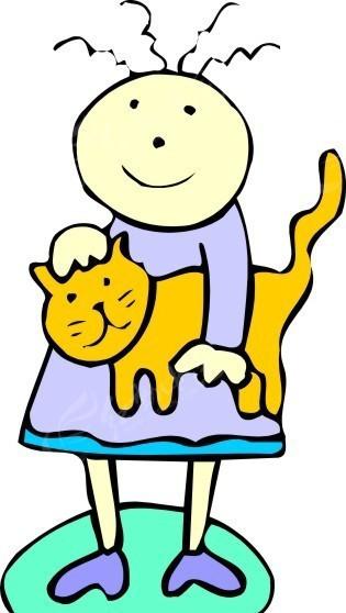 手绘被女孩夹着的猫矢量图_陆地动物