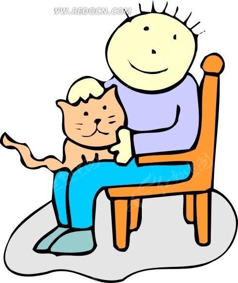 手绘抱着小猫坐在椅子上的男孩矢量图