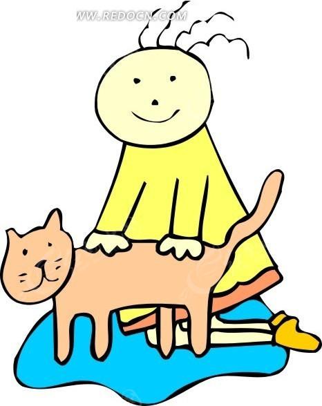 手绘猫和女孩矢量素材