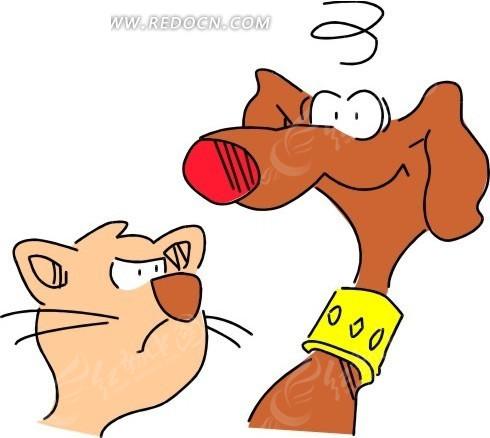 动物画矢量图; 手绘小猫; 动物漫画5386.wmf-动物