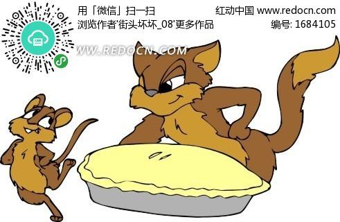 手绘插画褐色的猫和老鼠