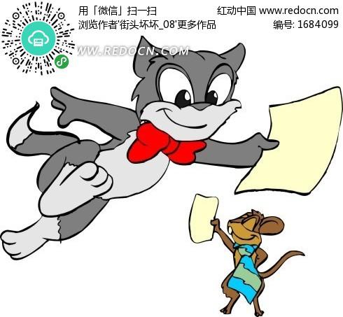 儿童插画猫和老鼠