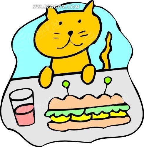儿童画看着桌上三明治的猫
