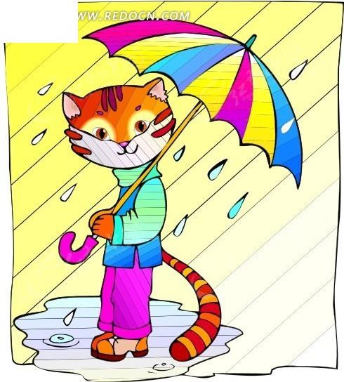 卡通画打伞的猫