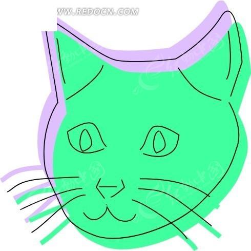 绿色的猫头 猫 猫咪 卡通动物 卡通画 插画 手绘 矢量素材 动物图片