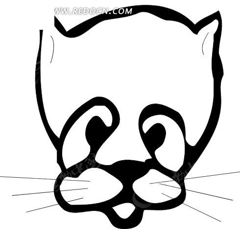 手绘黑色猫头简笔画矢量图