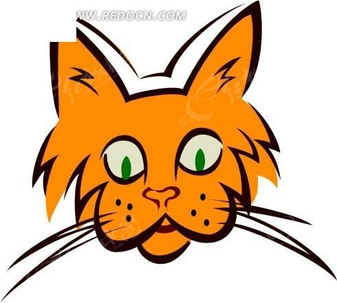 手绘橙色的猫咪头像