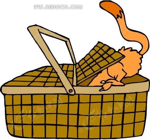 卡通画钻进野餐篮里的猫咪