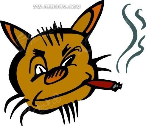 手绘抽雪茄的猫咪头像