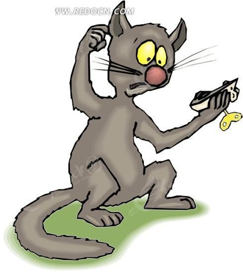 手绘拿着玩具老鼠挠头的猫图片
