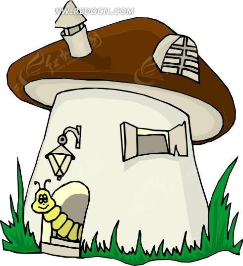 免费素材 矢量素材 生物世界 陆地动物 卡通画住在蘑菇小屋内的毛毛虫