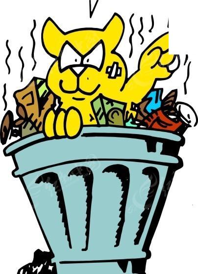 免费素材 矢量素材 生物世界 陆地动物 手绘趴在垃圾桶里的猫咪  请您