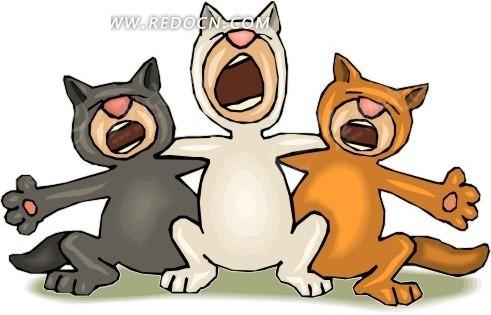 免费素材 矢量素材 生物世界 陆地动物 卡通画搭着肩膀唱歌的猫咪  请