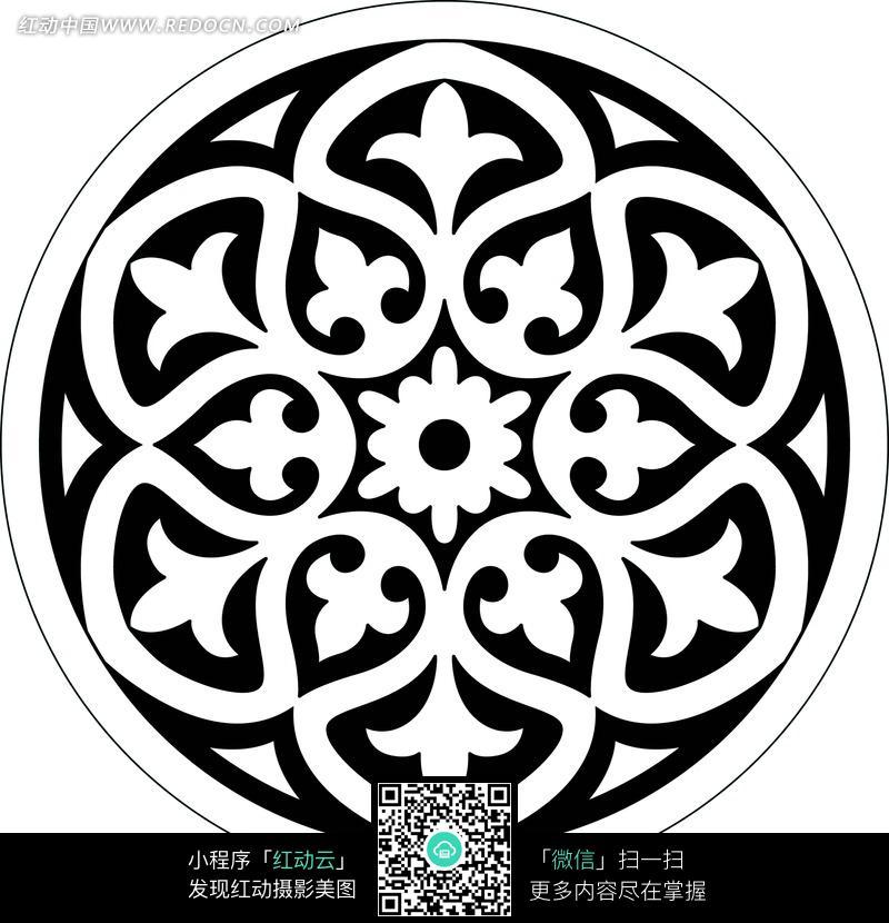 连弧边三叶草六瓣花圆形构成的圆形图案设计图片; 连弧边三叶草六瓣花