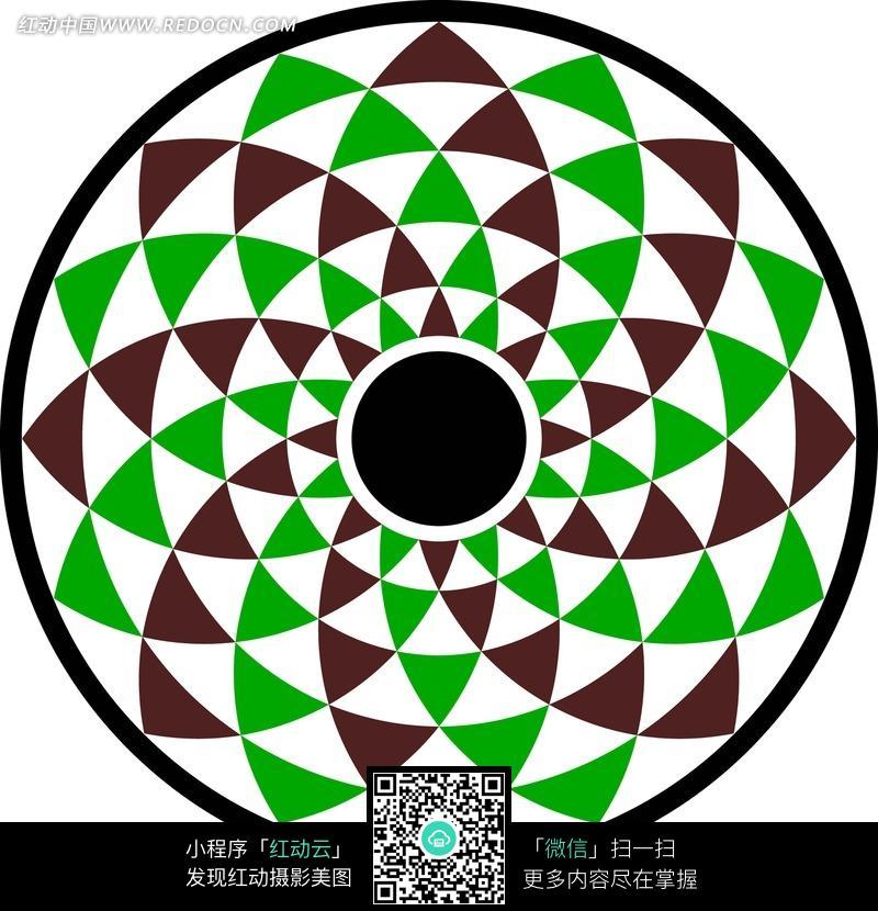 白绿黑色弧边三角环纹构成的圆形图案图片