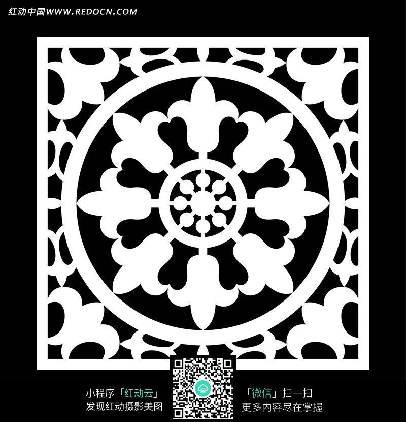 方格内的卷草角花环形八瓣花朵圆形构成的图案