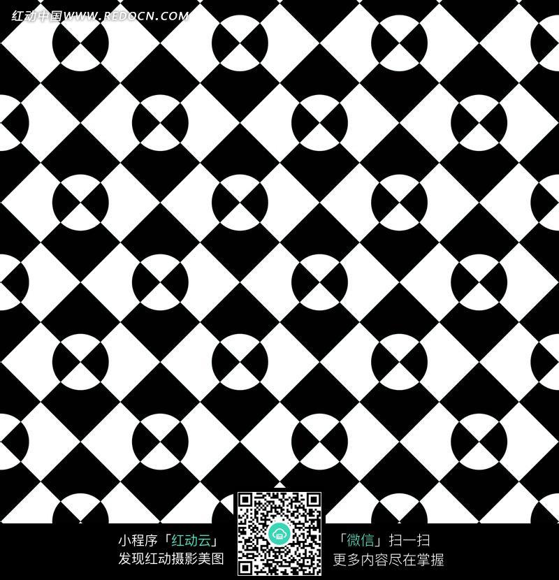 黑白色菱形四半圆形构成的背景图片 花纹 花边 线条 背景图库下载