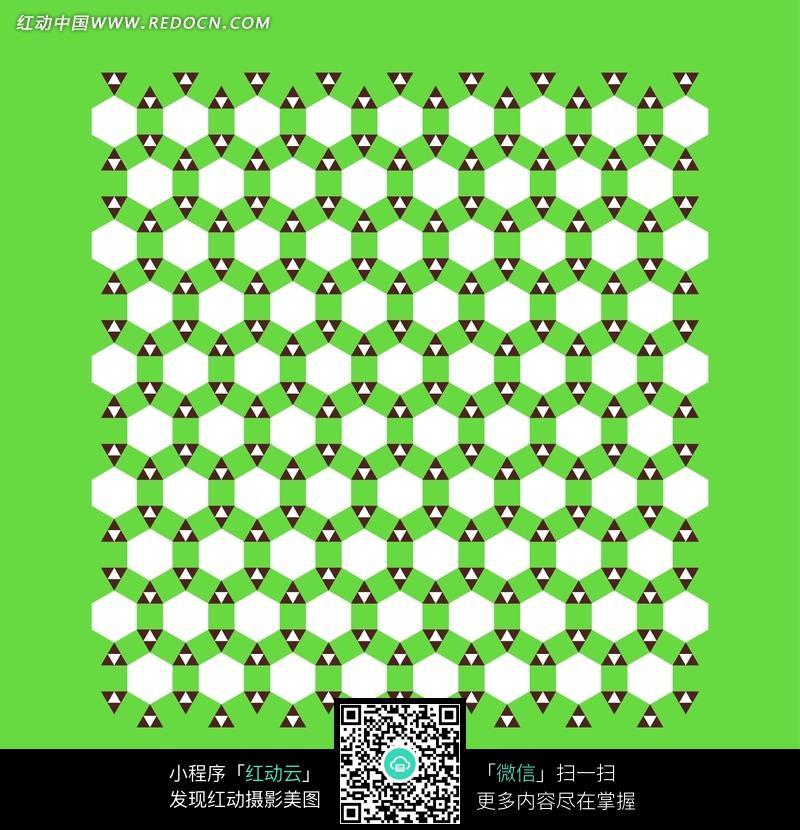 绿底白色六边形和六瓣黑白三角形构成的背景图片