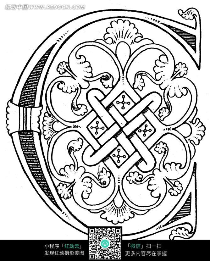 手绘藤蔓花结装饰字母c