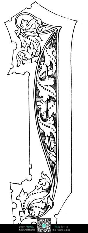 藤枝卷草纹 连珠纹 几何线 手绘 绘画 线描 黑白 图案 古典 文化 艺术