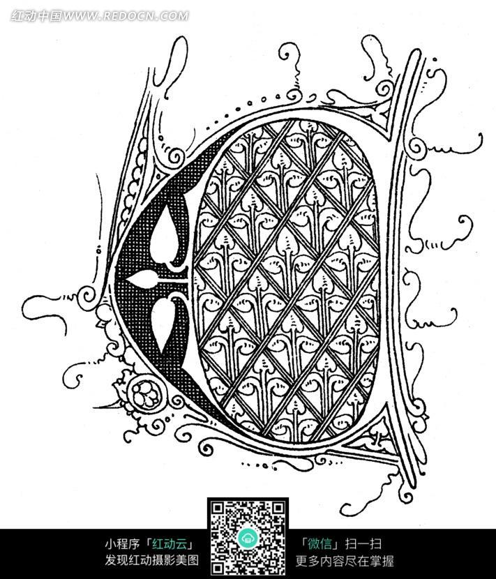 菱形网格卷曲细线草叶纹构成的图案