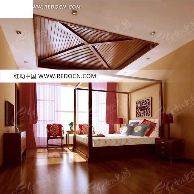 中式红色系卧室3D效果图高清图片