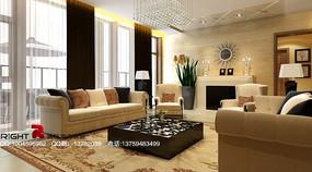 豪华时尚客厅装饰3D模型素材