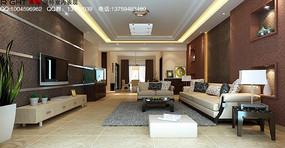 豪华典雅风格客厅装饰设计3D模型素材