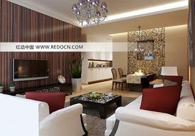 豪华时尚客厅装饰设计3D模型素材