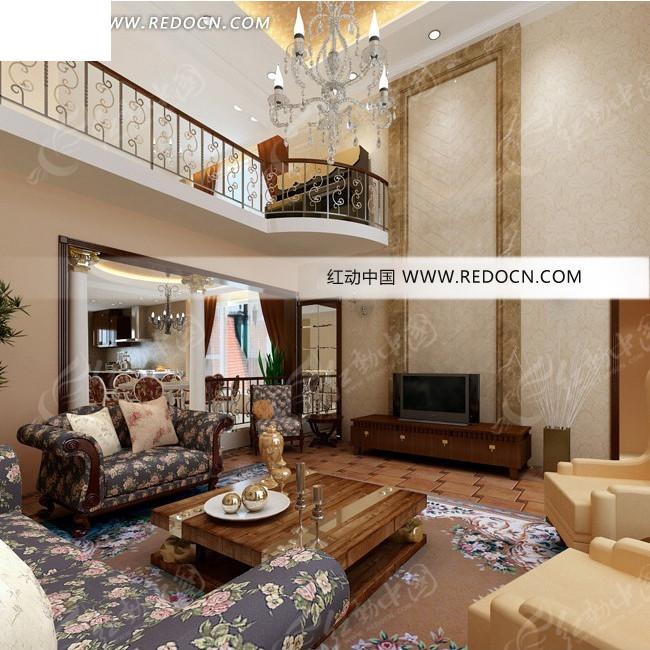 复式别墅欧式客厅效果图设计