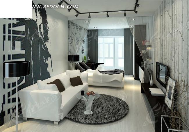 冷调单身公寓卧室效果图设计图片