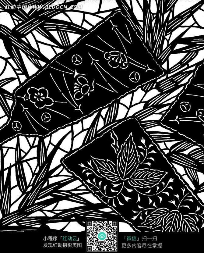 花枝纹叶纹竹叶纹竹板扇纹构成的雕刻黑白图案图片