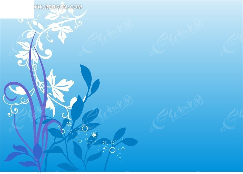 蓝色渐变背景    植物    藤蔓      图案    花纹    矢量素材 底纹
