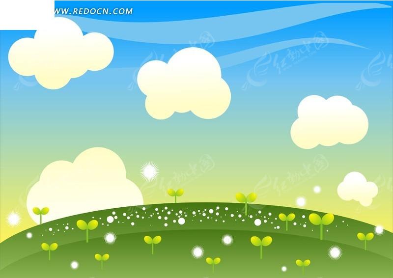 手绘蓝天白云下绿苗田园
