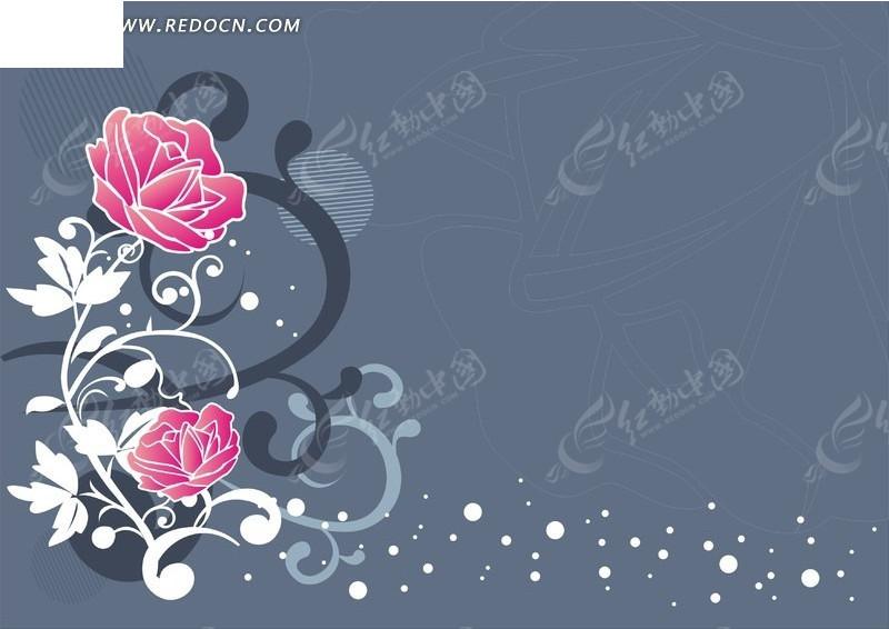 复古 优雅 粉红玫瑰 玫瑰纹饰  底纹 背景素材 矢量素材