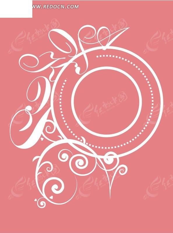 手绘粉色背景上绕在白色圆环边花纹