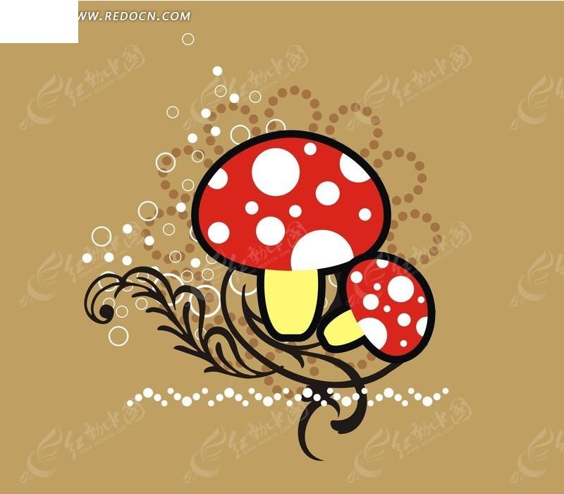 手绘潮流叶蔓彩斑蘑菇