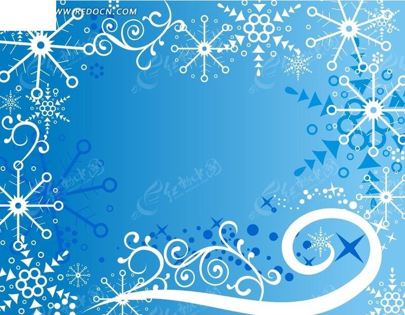 蓝色背景上白色雪花和藤蔓矢量图ai免费下载